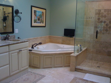 Elegant master bath makeover r j construction for Master bathroom with corner tub
